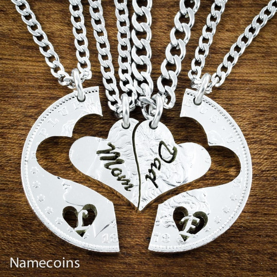 4 Family Necklaces, Mom and Dad and Kids, 4 Piece Family Jewelry, Bespoke Hand Cut Silver Dollar