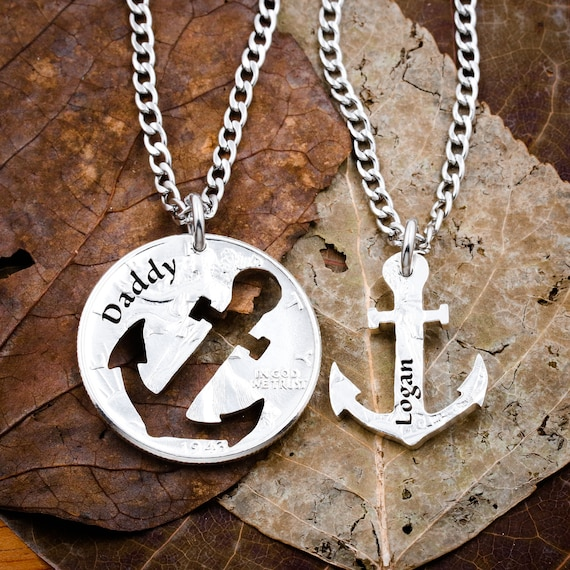 Anchors Family Necklaces, Custom Names, Daddy Son Best friends necklace, BFF or Couples Gift, Relationship set hand cut coin