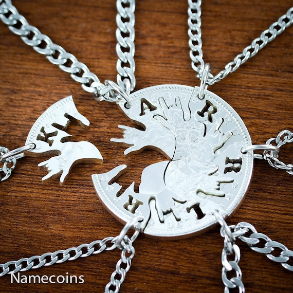 6 Best Friends Silver Necklaces Necklaces, Custom Initials, ASL I Love You, BFF Gifts Family or Friendships, Hand Cut Real Silver Dollar