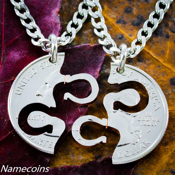 Horseshoe Necklaces for 2, Best Friend Or Couples Gifts, Fits Like A Puzzle, Equestrian Jewelry, Friendship set hand cut coin