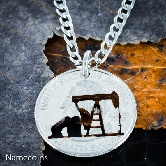 Pump Jack Necklace, Oil rig necklace or keychain, hand cut coin