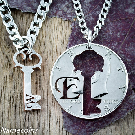 Couples Key To My Heart Necklaces with initials, BFF or Relationship Gifts, hand cut coin