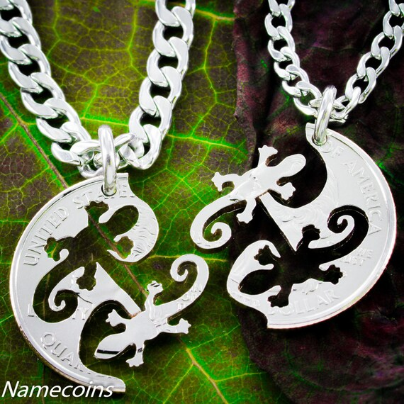 Gecko Lizard Friendship Necklaces for 2, Best Friends Gifts, BFF, Interlocking Jewelry Set, Hand Cut Quarter