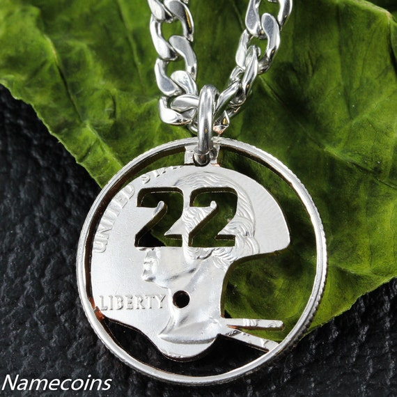Football Necklace, Helmet with custom Jersey numbers, Sports Gift For Boys, hand cut quarter