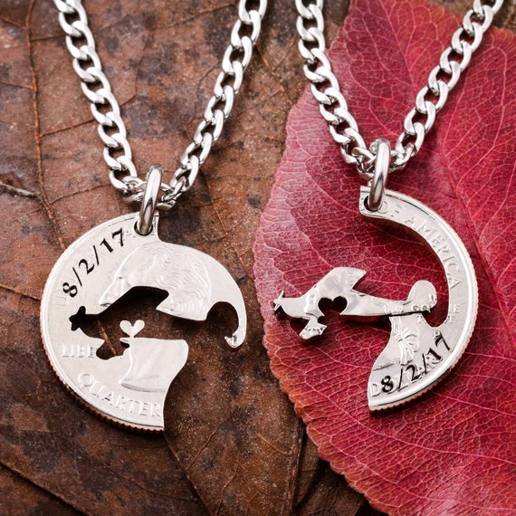 Pilot Gift, Airplane Necklaces for 2, Plane Heart Couples BFF, Engraved Dates, Best Friends Gift, Interlocking cut coin