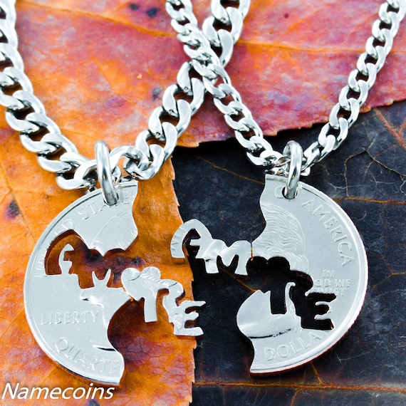 Amore Necklaces for 2, Love in Italian, Couples or Best Friends, BFF Gifts for 2, set that fits together, Hand Cut Coin
