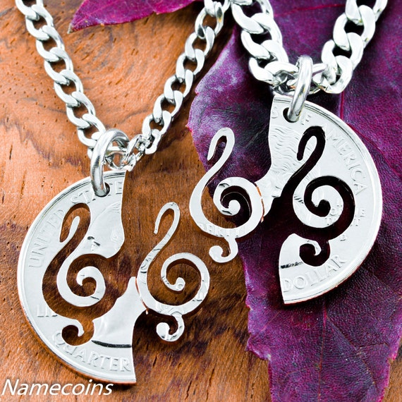 Treble Clef Bff Necklaces for 2, Music Best Friends Gifts, Couples Or Friendship Jewelry, Interlocking Like a Puzzle, Hand Cut Coin