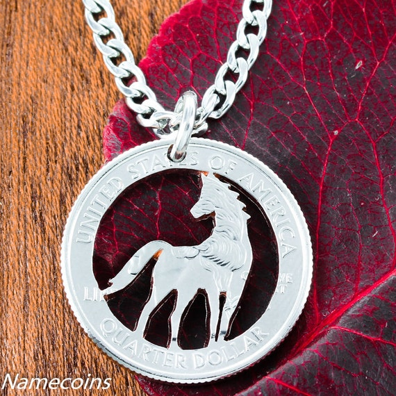 Horse necklace, Equestrian pendant, hand cut coin