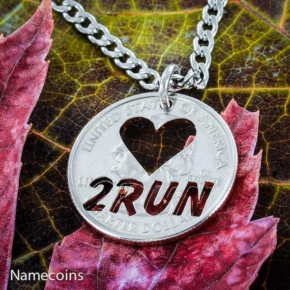 Love 2 Run necklace, Running jewelry, Marathon Necklace, hand cut coin