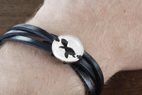 Turtle Woven and Braided Leather Bracelet, Baby Sea Turtle, Gift for Her, Hand Cut Dime