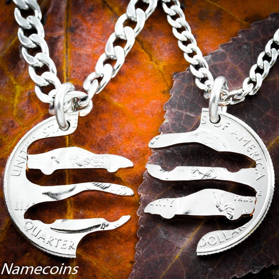 Race Car Best Friends Necklaces, Nascar Racing Jewelry, BFF Gifts, interlocking hand cut quarter