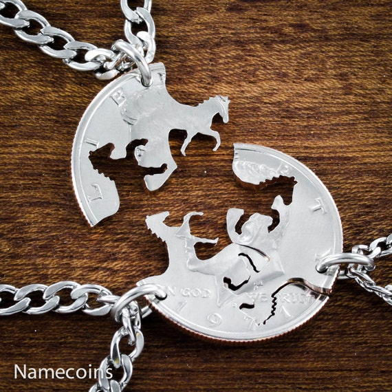 3 Horses Necklaces, Best Friends Jewelry, Interlocking Handcrafted cut Half Dollar