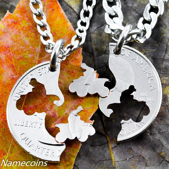 Four Wheeler BFF necklace, motocross couples, Guys jewelry, extreme couples Interlocking Relationship quarter, hand cut coin