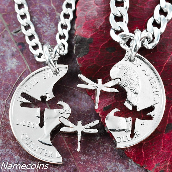 Dragonfly BFF Necklaces, Best Friends Gifts, Interlocking puzzle set, hand cut coin