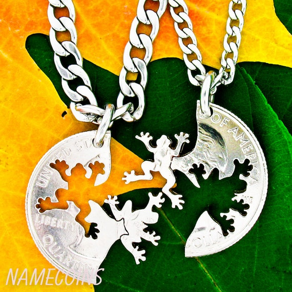 Frog BFF Jewelry, Friendship Necklaces, Best Friends Gifts, Interlocking Like A Puzzle, Animal Lovers, Hand Cut Coin