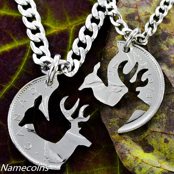 Buck and Doe Canadian Quarter, Necklace Set, Woodland Jewelry, Interlocking hand cut coin