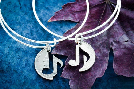 Music Note Bracelets, Best Friends Charm Bangles, BFF Bracelets, friendship set, Interlocking Hand cut coin
