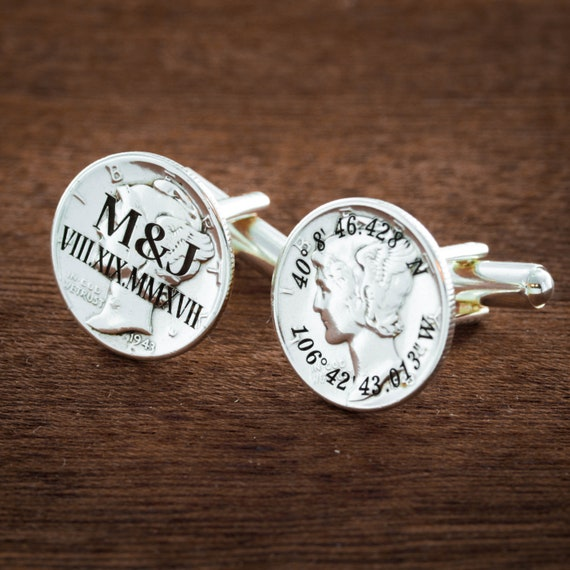 Wedding Cufflinks Custom Date Engraved, Grooms Personalized Roman Numeral Cuff Links, Silver coin with Monogram and Coordinates