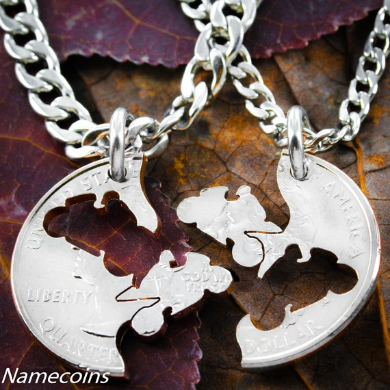 Biker Jewelry, Best Friends or Couples Necklaces, Motorcycle Necklace Set, Relationship Interlocking Coin Necklaces