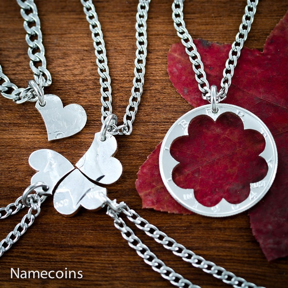 5 Best Friends Necklaces, 5 BFF Gifts, Heart Puzzle, Friendship or Family Jewelry