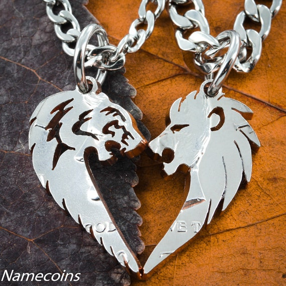 Lion and Tiger Couples Necklaces, Animals making a heart set, Hand Cut Coin