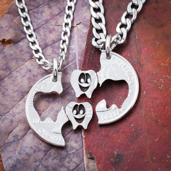 Dental Squad Necklaces, Hygienist BFF Couple, Dentist, Orthodontist, Oral Surgery, Tooth Gift, Periodontist, Teeth Coin, Molar, Friends