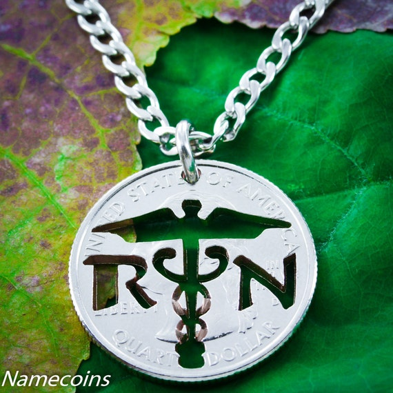 Nurse Necklace, RN Jewelry, Medical Gift, cut on a Custom state quarter, Handcrafted cut coin