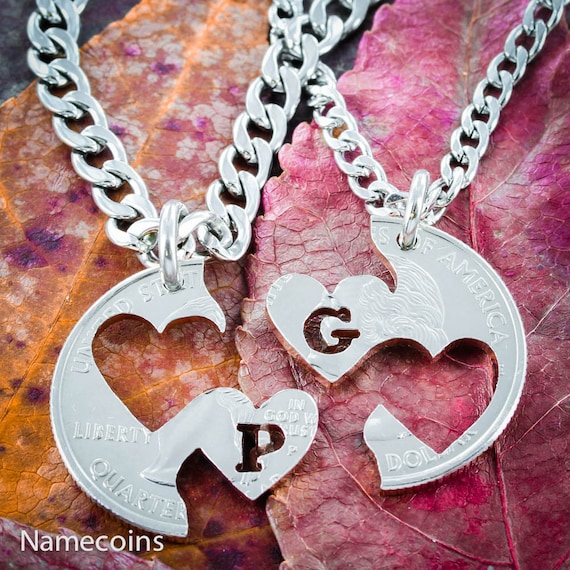 Custom Initial Heart Necklaces for 2, Couples Gifts, I Carry Your Heart Jewelry, Interlocking Relationship set, Hand Cut Coin