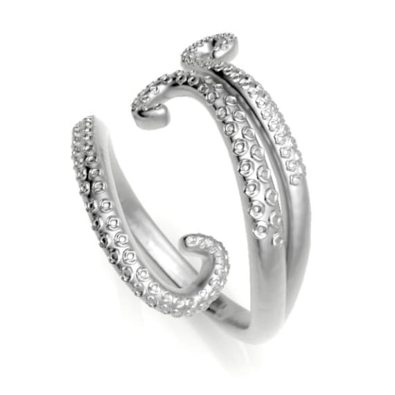 White Gold Tentacle Ring, Octopus or Squid, Fine Jewelry