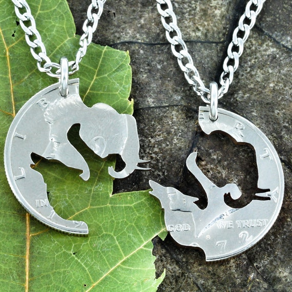 Elephant Wolf BFF Necklaces for 2, Best Friend or Couples Gifts, Interlocking Like a Puzzle Jewelry Set, Hand Cut From A Coin