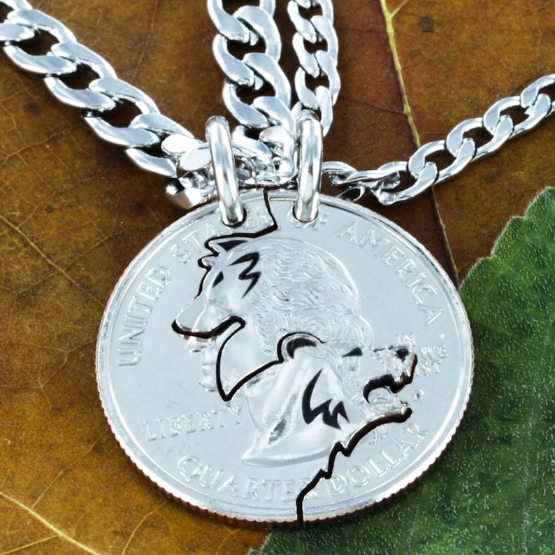 aea7310827 Bear and Wolf Necklace Set BFF and Couples Necklaces   Etsy