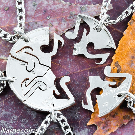 5 Best Friends Music Note Jewelry, 5 BFF Necklaces, Interlocking Like a Puzzle, Cut From a Half Dollar, For Band or Family, Hand Cut Coin