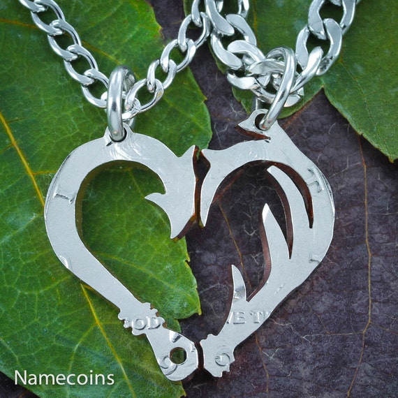 Fish Hook and Antler Necklaces for Couples, Makes a Heart, Hand Cut Half Dollar