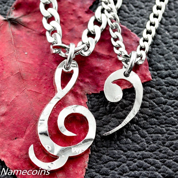 Treble Clef and Bass Clef Necklace, BFF Necklaces for 2, Best Friend Gifts, Relationship Jewelry, hand cut half dollar