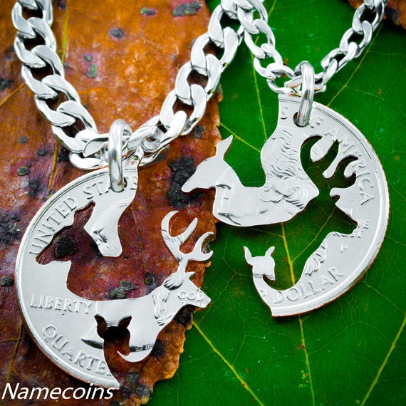 Buck and Doe with Fawn, Family Necklaces, with STAINLESS STEEL CHAINS, Interlocking Love Quarter, Hand Cut Coin