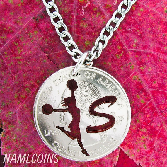 Cheerleader necklace with custom initial silhouette Quarter, Sports Gifts for Girls, hand cut coin