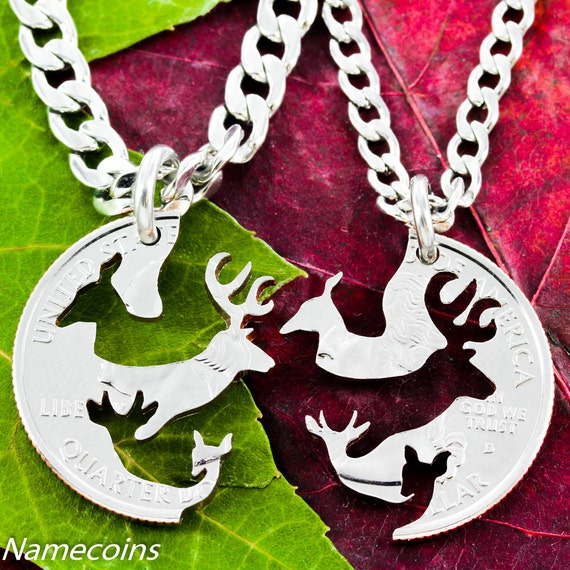 Buck and Doe Couples Necklaces, with fawn and spike deer, Couples Gifts, Interlocking hand cut coin
