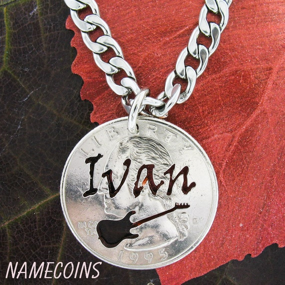 Scratchy name necklace with guitar, Music Necklace, Custom cut on quarter