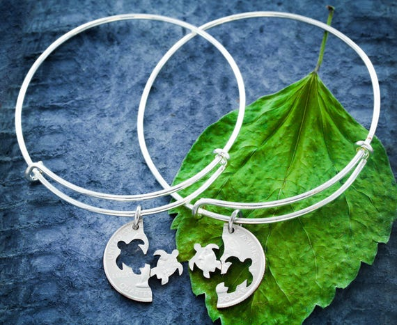 Best Friends Turtle Charm Bangles, BFF Turtle Bracelet, Friendship Set, Interlocking Hand Cut Coin