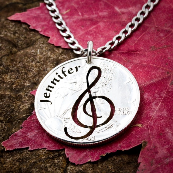 Treble Clef Musical Coin Necklace, Musicians Artistic Music Note, Engraved Name Hand cut coin
