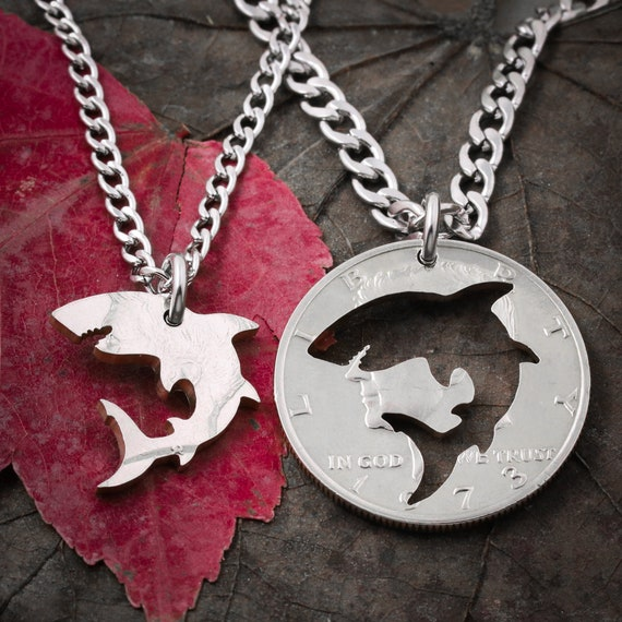 Shark Best Friends Necklaces, Great White Sharks, BFF Gift, Interlocking Like a Puzzle Jewelry, Hand Cut Coin