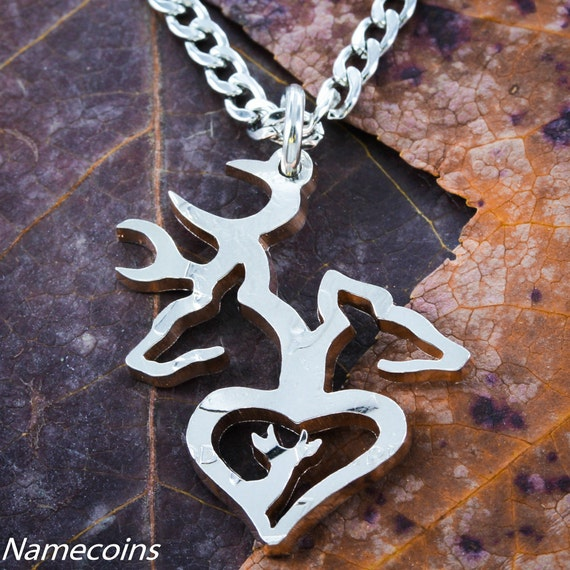 Buck and Doe Heart Necklace, Baby Buck, Parents, Mom and Dad, Little Spike Hand cut on a half dollar