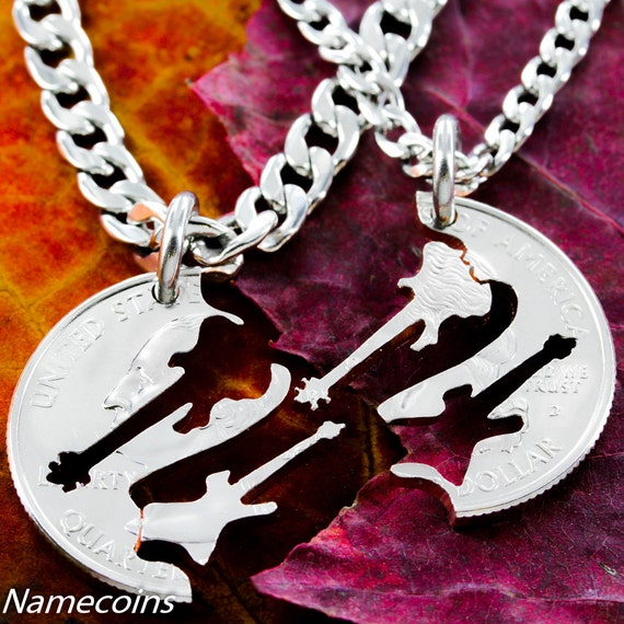 Guitar Friendship Necklaces, Couples and Best Friends Gifts, Electric and Bass interlocking, hand cut coin