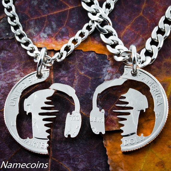 Sound Wave Couples Necklaces or Best Friends Gift, BFF Necklace for 2, Interlocking set, Hand cut coin