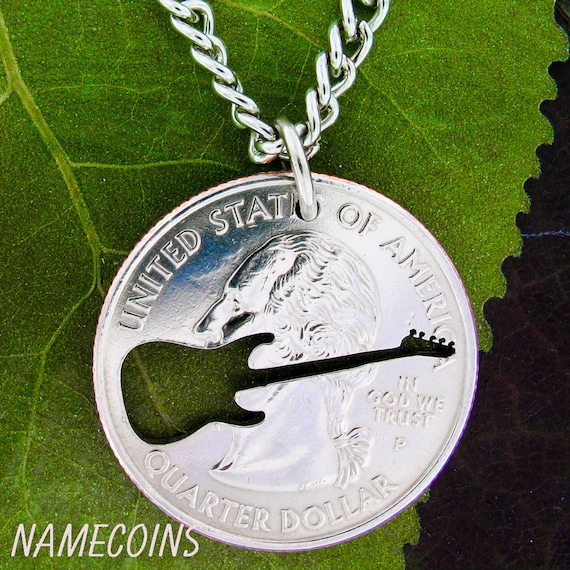 Electric Guitar Necklace, hand cut quarter, Musical Jewelry