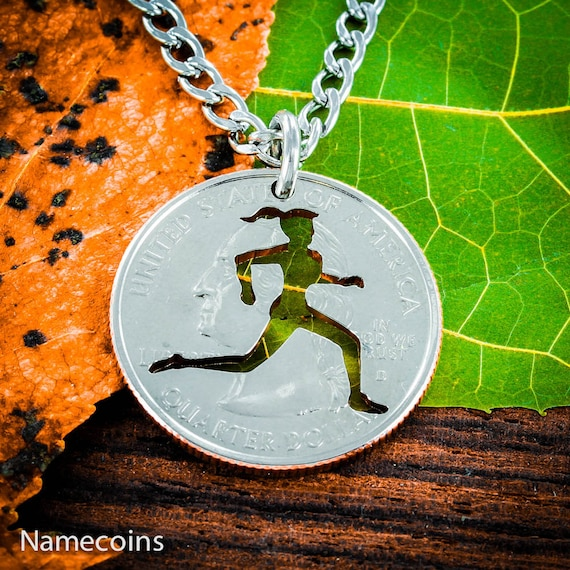 Running Girl necklace, Track and field woman jewelry, Sports Gifts for Her, hand cut coin
