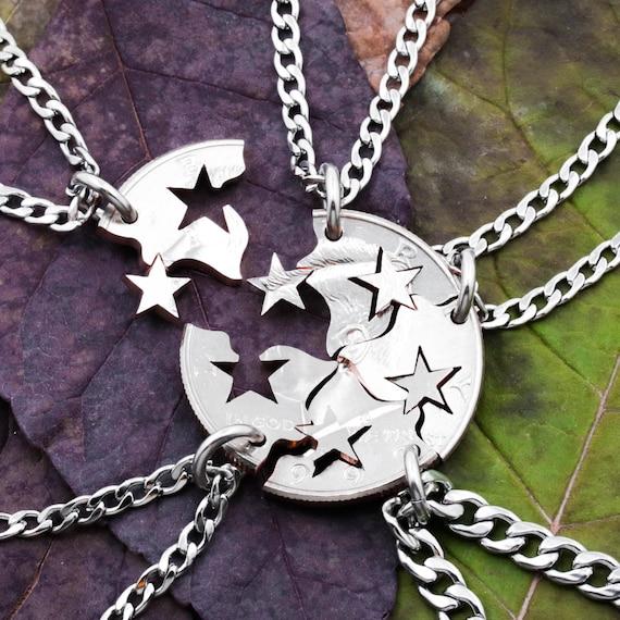Star Friendship Necklaces 5 Best Friends Gift Interlocking Etsy