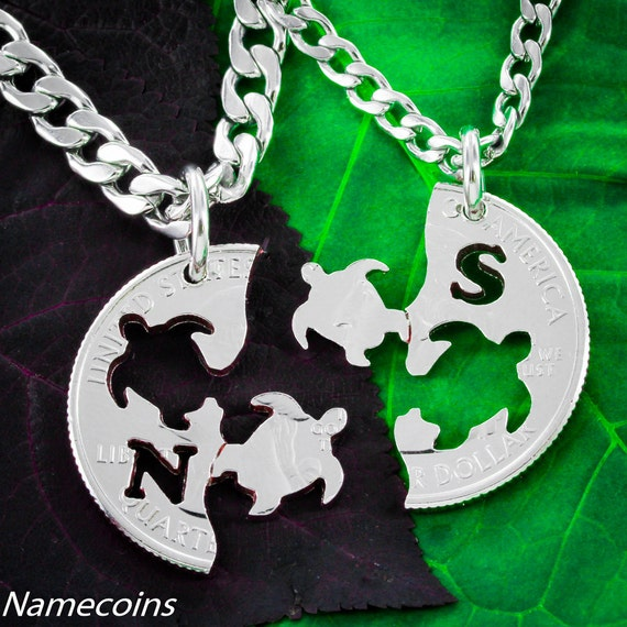 Interlocking Turtle Necklaces with initials, For 2, Best Friends or Couples Gift, hand cut coin
