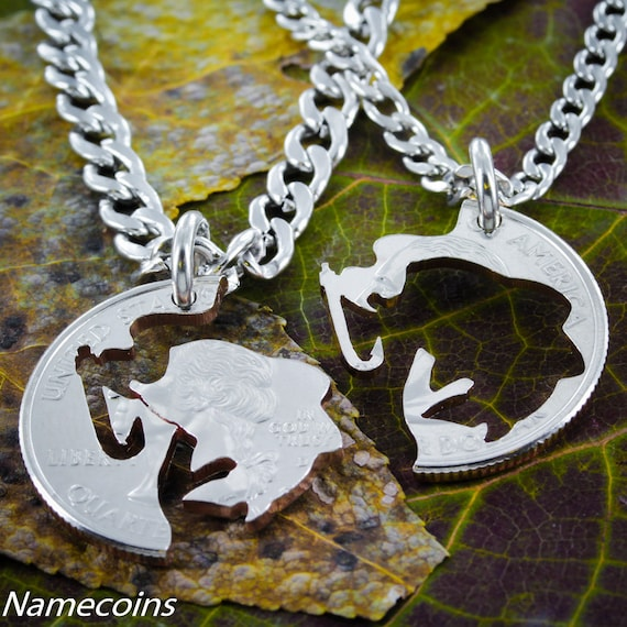 Fishing Jewelry for 2, Couples necklaces, Hook and Fish, You Caught Me, hand cut coin