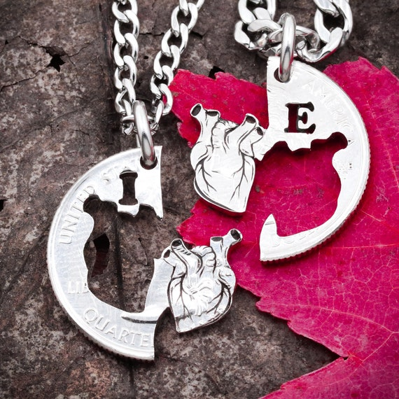 Anatomical Heart Couples Necklaces, Best Friend Initials Gifts, I carry your Heart jewelry, interlocking relationship set, hand cut coin
